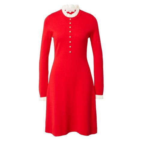 Derhy Úpletové šaty 'QUIMPER' červená / bílá