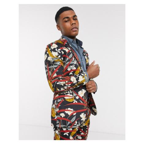 Topman skinny suit jacket with bird print in black