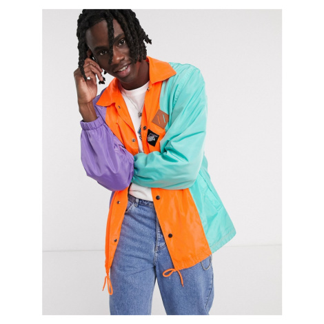 Vintage Supply tri colour coach jacket in purple orange and green