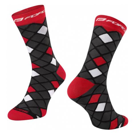 Cyklistické ponožky Force Square černo-červené