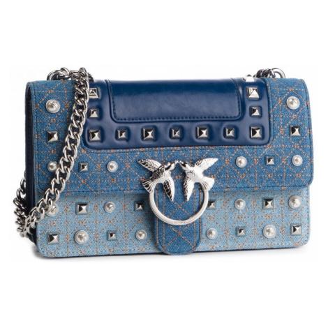 Modrá kožená kabelka kombinovaná s jeansovinou PINKO