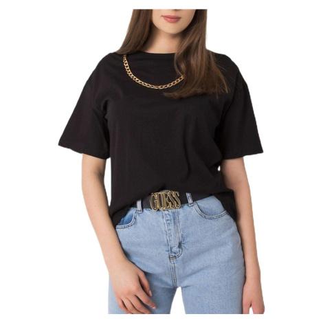 černé dámské tričko s řetízkem Rue Paris