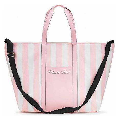 Victorias Secret velká plátěná pruhovaná taška Stripe Weekender Tote Victoria's Secret