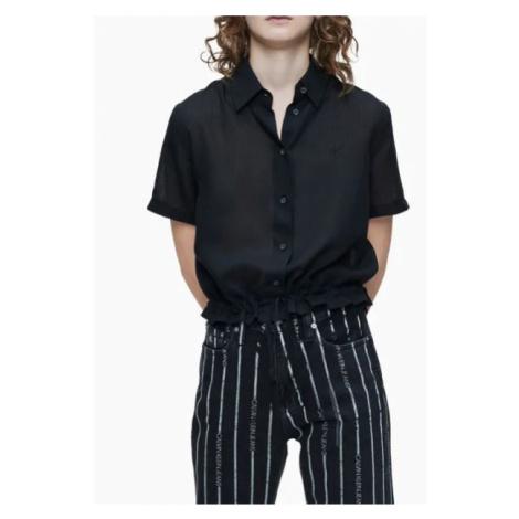 Calvin Klein Calvin Klein dámská černá krátká košile WAISTED LACING SS SHIRT