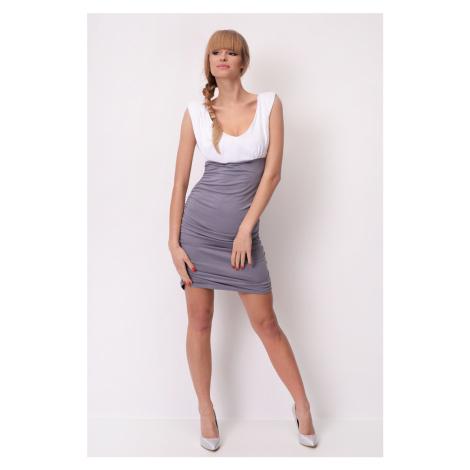 Dvoubarevné šaty bez rukávů s řasením barva bílá/šedá