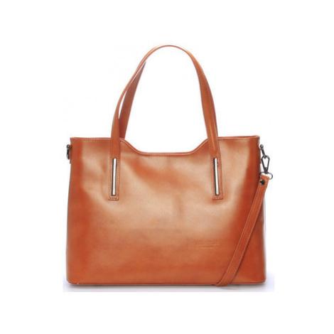 Italy Větší kožená kabelka světle hnědá - Sandy Hnědá