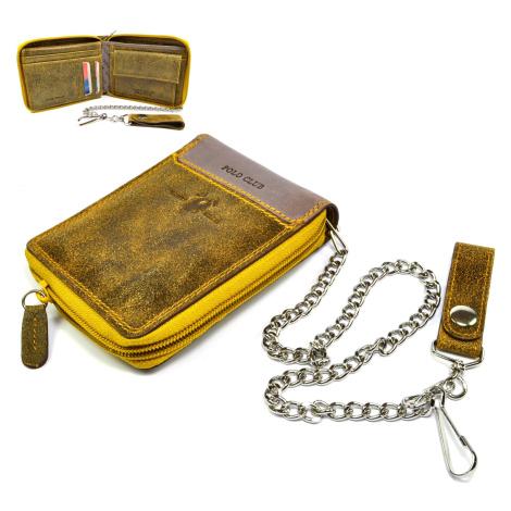 Hnědá pánská peněženka na zip kožená s řetízkem