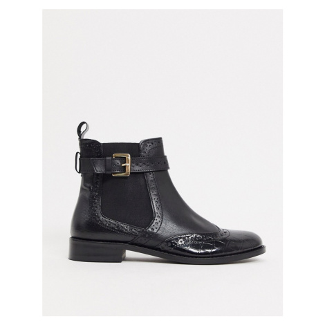 Dune parker leather chelsea boots in black