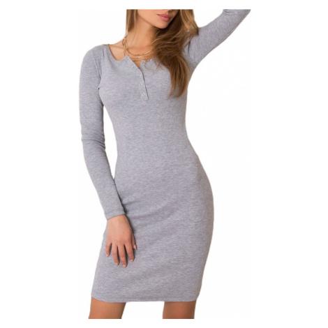 Světle šedé šaty s dlouhým rukávem Rue Paris