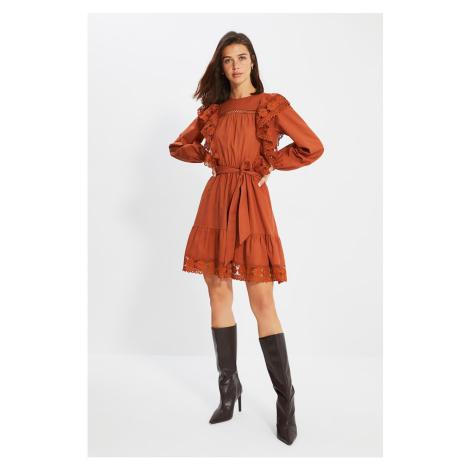 Trendyol Camel Belted Lace Detailed Dress