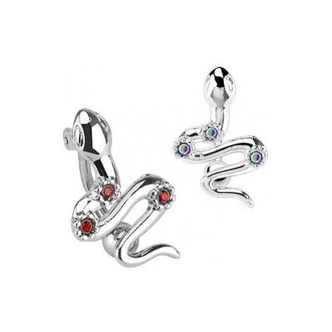 Piercing do pupíku z chirurgické oceli - had, barevné zirkony - Barva zirkonu: Červená - R Šperky eshop