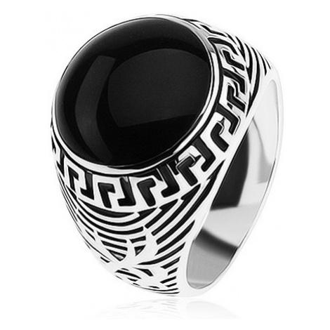 Prsten ze stříbra 925, černý glazovaný kruh, ornament řeckého klíče Šperky eshop