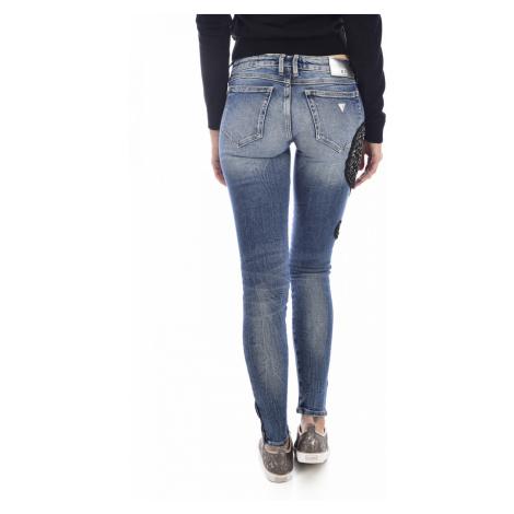GUESS dámské tmavě modré džíny MARILYN s ozdobou