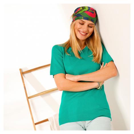 Blancheporte Jednobarevný pulovr s krátkými rukávy zelená