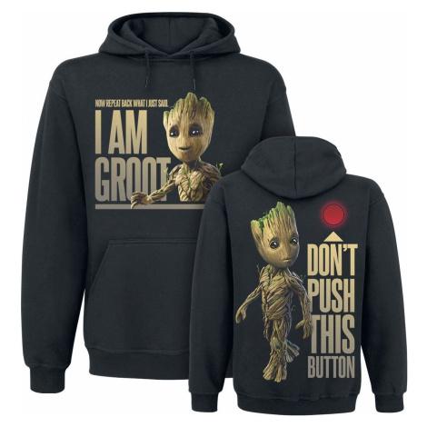 Strážci galaxie 2 - Groot - Button Mikina s kapucí černá