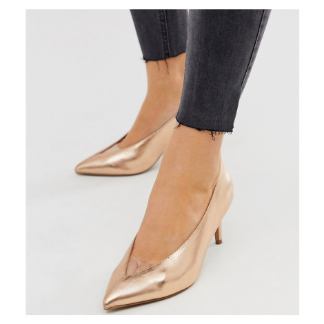 ASOS DESIGN Wide Fit Winner mid heeled court shoes in rose gold glitter