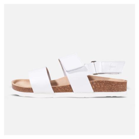 Vasky Sany White - Pánské kožené sandály bílé, česká výroba