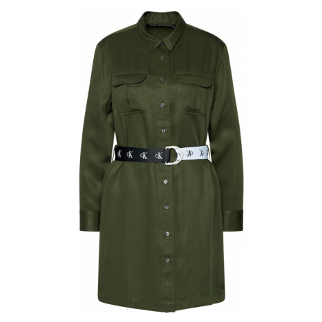 Calvin Klein Calvin Klein dámské zelené šaty UTILITY SHIRT DRESS