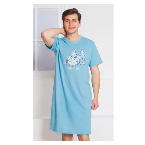 Pánská noční košile s krátkým rukávem Žralok, 4XL, světle šedá