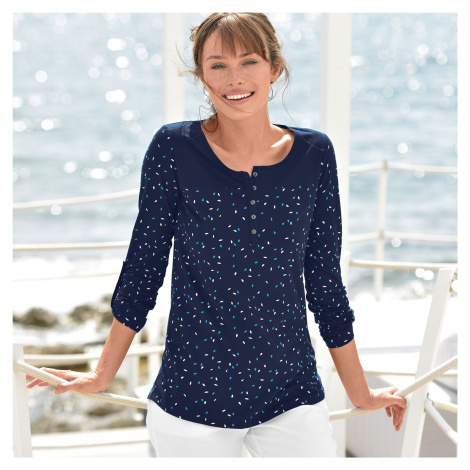 Blancheporte Tuniské tričko s potiskem a dlouhými rukávy nám.modrá