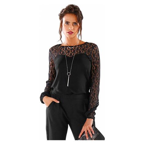 Blancheporte Tričko s krajkovou vsadkou, dlouhé rukávy černá