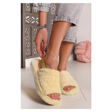 Žluté plyšové sandály Cindy Ideal