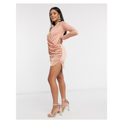 Flounce London Club drape plunge dress in blush pink