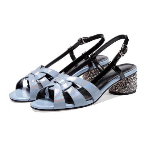 Kožené sandály sling back letní boty na podpatku s kamínky