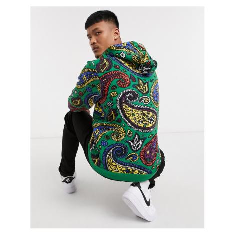 Bershka paisley printed hoodie co-ord in green-Black