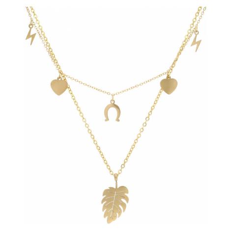 Zlatý dámský náhrdelník s lístečkem NP008