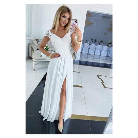 Bílé krajkové dlouhé šaty Rewia