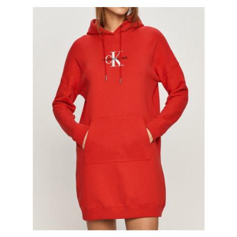 Calvin Klein Calvin Klein dámské červené mikinové šaty MONOGRAM HOODIE DRESS