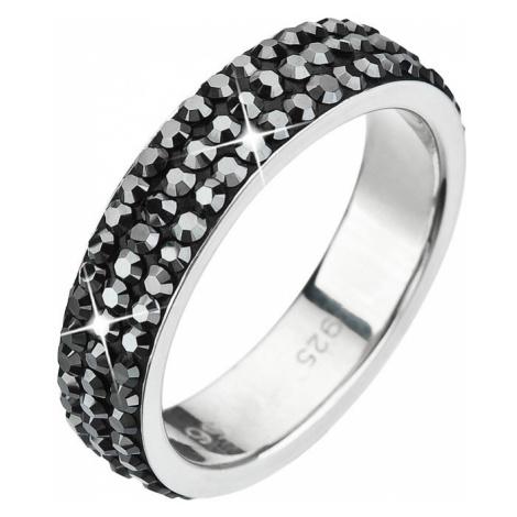 Stříbrný prsten s krystaly Swarovski černý 35001.5