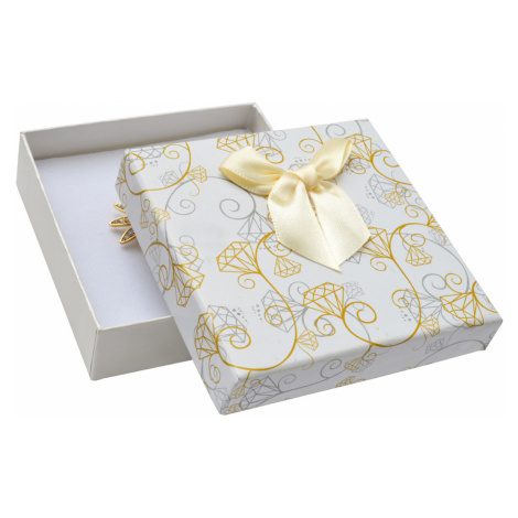 JKBOX Krémová papírová krabička s mašlí Diamonds na střední sadu šperků IK004