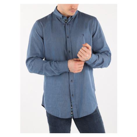 Košile Trussardi Shirt Regular Fit B.D. Stripes Jacquard Modrá