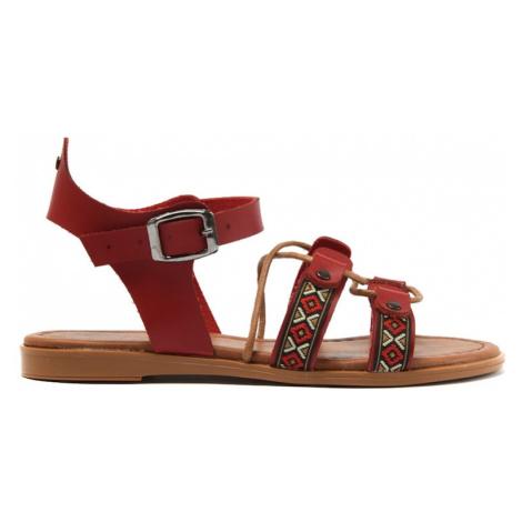 Trendyol Red Genuine Leather Women Sandals
