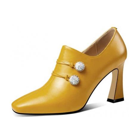 Kožené polobotky do kanceláře office boty s třpytivými kroužky