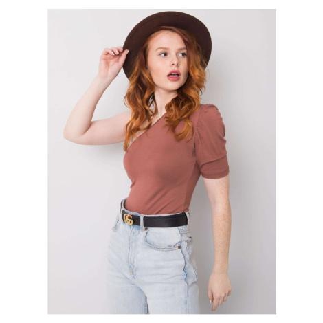 RUE PARIS Brown blouse with one shoulder Fashionhunters