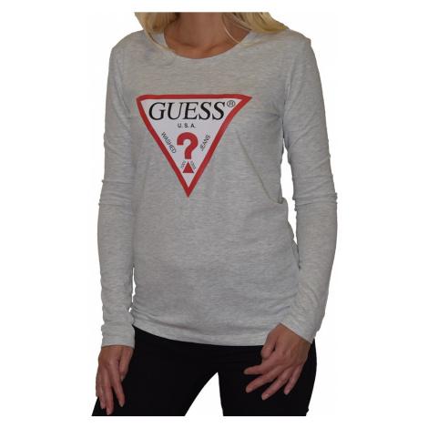 Guess tričko s dlouhým rukávem logo šedé - Šedá