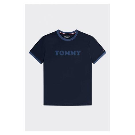 Tommy Hilfiger Pánské Logo tričko z organické bavlny- tmavě modré