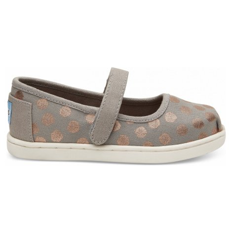 Drizzle Grey/Rose Gold Foil Polka Dot Tiny Mary Jane Toms