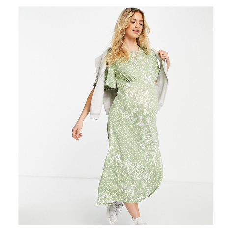 New Look Maternity midi dress in green ditsy print