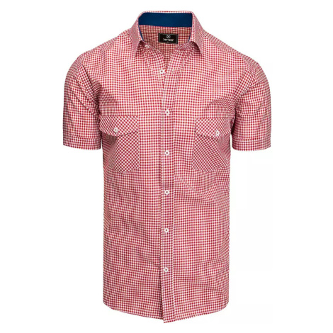 Red and white men's shirt with short sleeves Dstreet KX0957