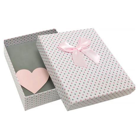JKBOX Puntíkatá papírová krabička se srdíčkem uvnitř IK003