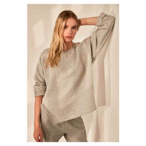 Trendyol Grey Ottoman Fabric Knitted Blouse