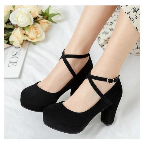 Semišové lodičky s překříženými pásky obuv na podpatku