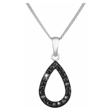 Evolution Group Stříbrný náhrdelník s krystaly Swarovski černá slza 72059.5
