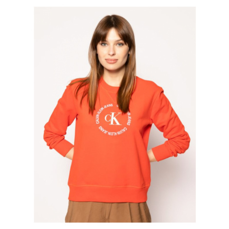Calvin Klein Calvin Klein dámská červená mikina s logem CK ROUND LOGO RELAXED CN