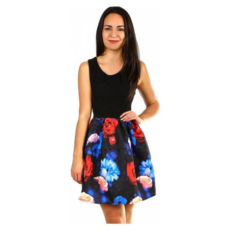 Dámské šaty s áčkovou květovanou sukní