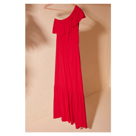 Trendyol Red One Sleeve Dress